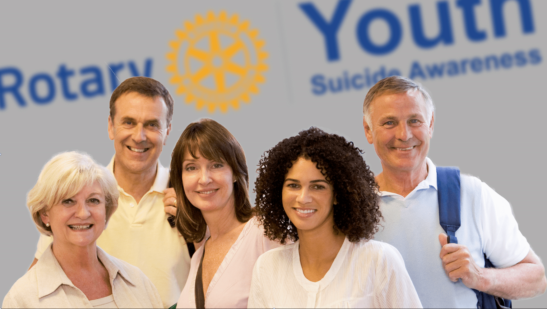 Youth Suicide Awareness team photo with a Rotary background